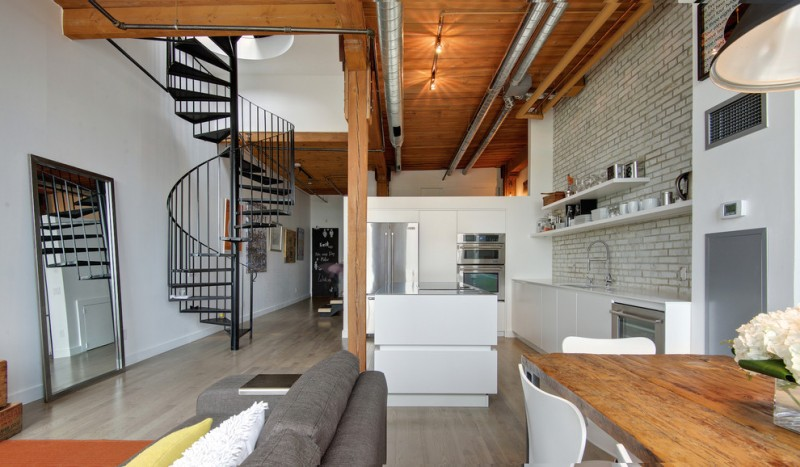 modern industrial kitchen with white floating shelves white bricks backsplash and walls white recessed cabinets pale toned wood floors