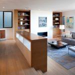 Modern Living Room Ideas Black Coffee Table Small Fireplace Grey Rug Grey Sofa Wood Floor Built In Shelves Glass Windows And Door