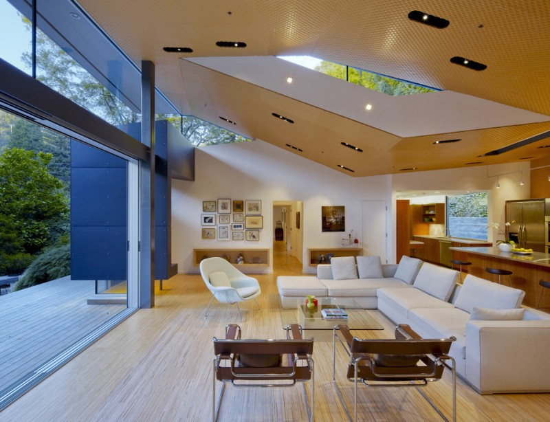 modern living room ideas white saarinen large womb chair wassily chair recessed ceiling lamp skylight glass ceiling white sofa glass table