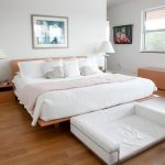 Modern Platform Bed With White Bedding Dog Bed In White Modern Console Table And Bench Modern Bedside Tables Medium Toned Wood Floors White Ceilings