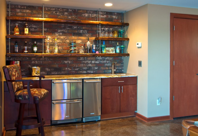 modern rustic kitchen idea with rustic industrial shelves with hanging wires red bricks backsplash wooden countertop stainless steel appliances high based bar stool