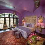 Moroccan Inspired Bedroom Purple Patterned Pouf Purple Wall Moroccan Decorations Rug Hardwood Flooring