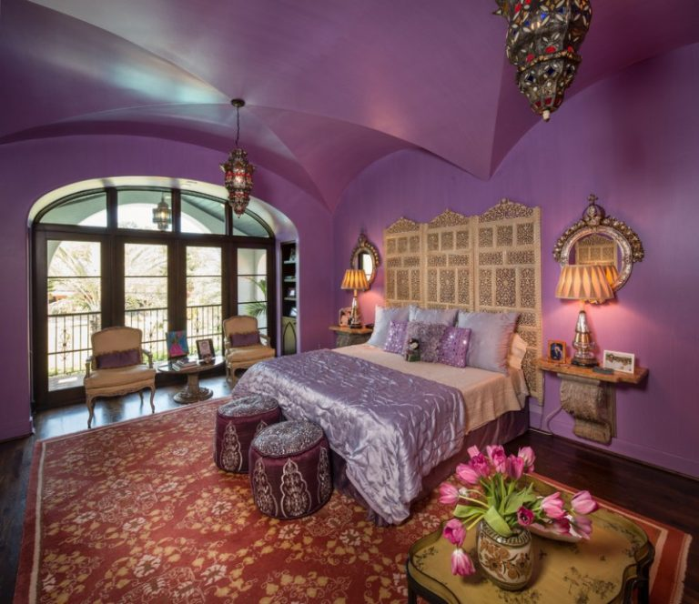Moroccan Inspired Bedroom Purple Patterned Pouf Wall Decorations Rug Hardwood Flooring