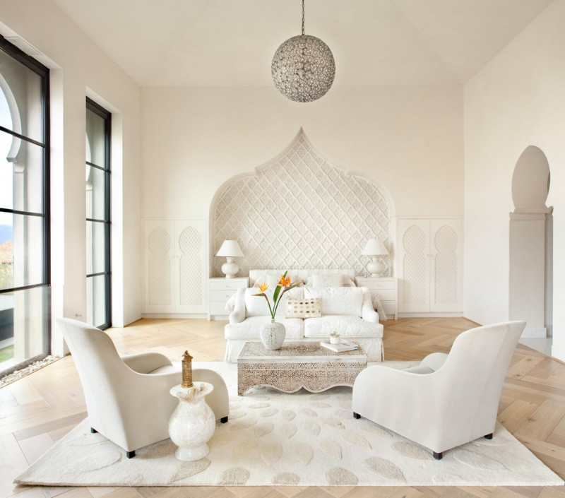 moroccan inspired bedroom schonbek da vinci pendant light morrocan style bedroom white bed white chairs and patterned table