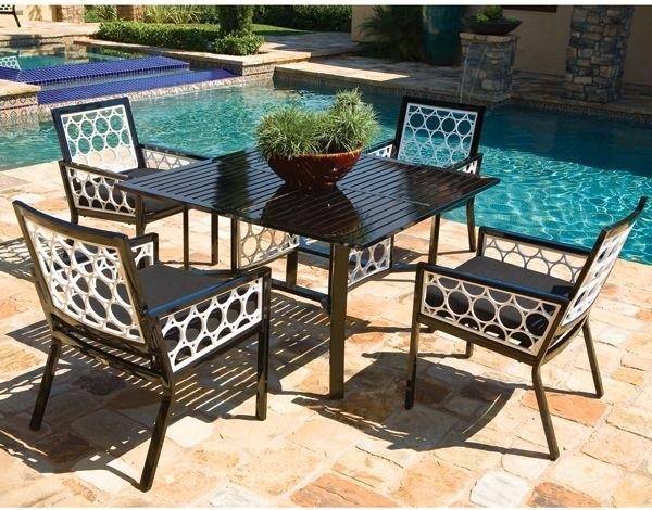 patio furniture set made of black white aluminum