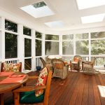 Porch Roof Designs Glass And Wood Roof Light Color Wicker Furniture Orange Table And Pilows Hardwood Flooring Screened Porch Wood Furniture