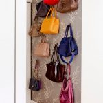 Purse Storage Ideas Beautful Gray Patterned Wallpaper Purse Display Artistic Storage Idea Sturdy Black Purse Hooks