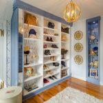 purse storage ideas blue purple accents built in storage gold accents pendant light shag area rug shoe storage wood flooring