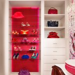 Purse Storage Ideas Built In Shelves Cool Pink Closets Display Shelves Glass Shelves Glass Tile White Drawers Pearl Glass Chandelier