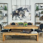 Ranch Style Dining Table Semi Classic Dining Chairs In Black Hardwood Dining Bench Jute Area Rug Artistic Horses Painting Unique Pendant Lamp Industrial Vertical Shelves