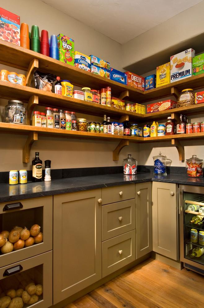 rustic industrial kitchen shelves made of original wood grey laminate countertop beige kitchen cabinets medium toned wood floors glass door lower cabinets
