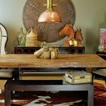 Rustic & Ranch Themed Dining Room Industrial Dining Chairs Hardwood Dining Table Hard Metal Accessories Cowhide Area Rug Copper Pendant Lamp
