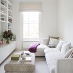 Small Living Room L Shape & Compact Sofa In White One Sided Shelves In White Patterned Coffee Table White Rug Glass Window With White Drapery