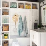 Small Mudroom Ideas Small Wicker Baskets Open Shelves Square Mirror White Sink Vanity Towel Holder Hooks Minimalist Pendants