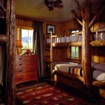 Small Rustic Cabins Bedroom Bunkbeds Pillows Ceiling Fan Windows Curtain Wooden Walls