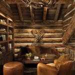 Small Rustic Cabins Carpet Table Couch Chair Shelves Chandelier Logs Family Room