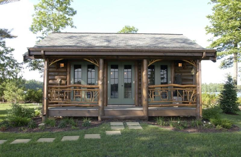 small rustic cabins grass cool railings pillars door cool lamps trees sky beautiful design