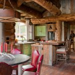 Small Rustic Cabins Kitchen Beautiful Floor Cool Chairs Table Island Hanging Lamp Green Cabinet Faucet Big Window Logs Lovely Room