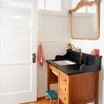 Student Desk Like For Vanity With Wooden Cabinet, Black Counter Top, Golden Faucet, Blue Shabby Tools For Children, Wooden Framed Mirror, White Pendant Lamp