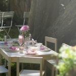 Tea Party Decoration Ideas Cute Wooden Table And Chairs Pink Flowers And Glassware Backyard Furniture Fresh Grass Candle