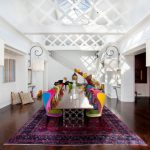 Tea Party Decoration Ideas Electic Tea Party Colorful Chairs Long Wooden Table With Unique Iron Base Purple Mediterranean Rug