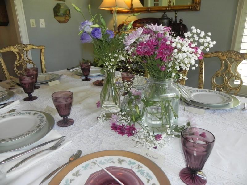 tea party decoration ideas graduation tea party buffet centerpiece decor garden flowers in a mason jar purple glassware antique dining table set