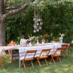 Tea Party Decoration Ideas Shabby Chic Style Landscape Traditional Wood Chairs Hanging Decorations Old Wood Rectangular Table