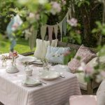 Tea Party Decoration Ideas Triangle Flags Pink And White Stripe Table Cloth Antique Wooden Chairs With Pastel Colors Cushions