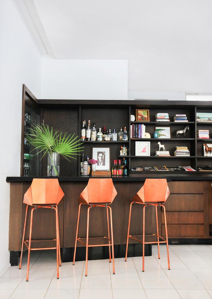 uniquely shaped wooden bar stools