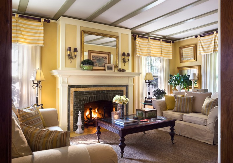 valances for living room colonial embossed gold wall mirror tan aqua and yellow stripe throw pillow yellow and white stripe valances fireplace