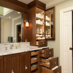 Vanity Organization Ideas Celebrity Widespread Lavatory Faucet Polished Chrome And Crystal Knob Wooden Cabinet With Drawers And Mirror Inside Marble Countertop