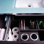 Vanity Organization Ideas Glass Countertop Minimalist Vanity With Dark Wooden Drawers Storage Deviders Toiletries