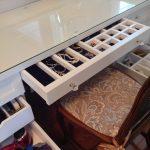 Vanity Organization Ideas Traditional Chair Large Mirror Felt Lined Drawer Hair Dryer Jewellery Storage Make Up Table Makeup Vanity