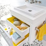 Vanity Organization Ideas Wall Mounted Faucet Duravit Wash Basin Yellow Hand Towel Trend Black And White Recycled Glass Tile Yellow And White Bathroom