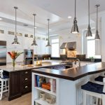 White High Kitchen Island With Wooden Top With White Wooden Wtool With Back And Blue Cushion