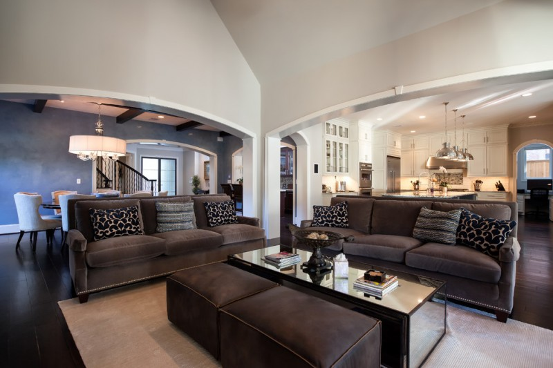Elegant living room with gray walls dark gray couch medium toned dark wooden floors cream rug glass coffee table geometric pillow throws pendant lamp