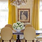 French Dining Set With Modern Color Addition Hardwood Dining Table Modern Wallpaper With Modern Yellow Motifs Yellow Draperies Crystal Chandelier
