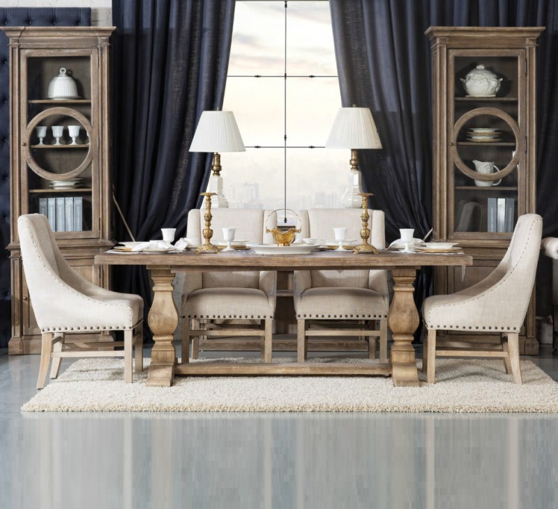 French style dining room French dining chairs in white oak dining table fluffy white area rug a pair of display cabinets for dining room