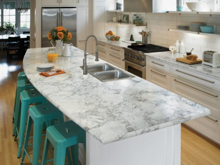 L Shaped Eat In Kitchen With Laminate Countertops White Backsplash And Stainless Steel Liances Turquoise