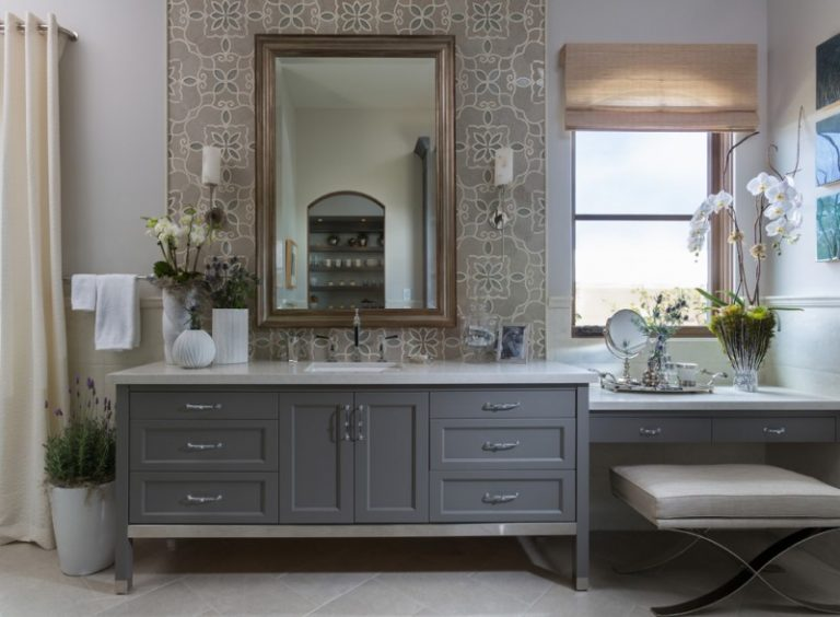Large Transitional Master Bathroom With An Undermount Sink Gray Cabinets Tile White