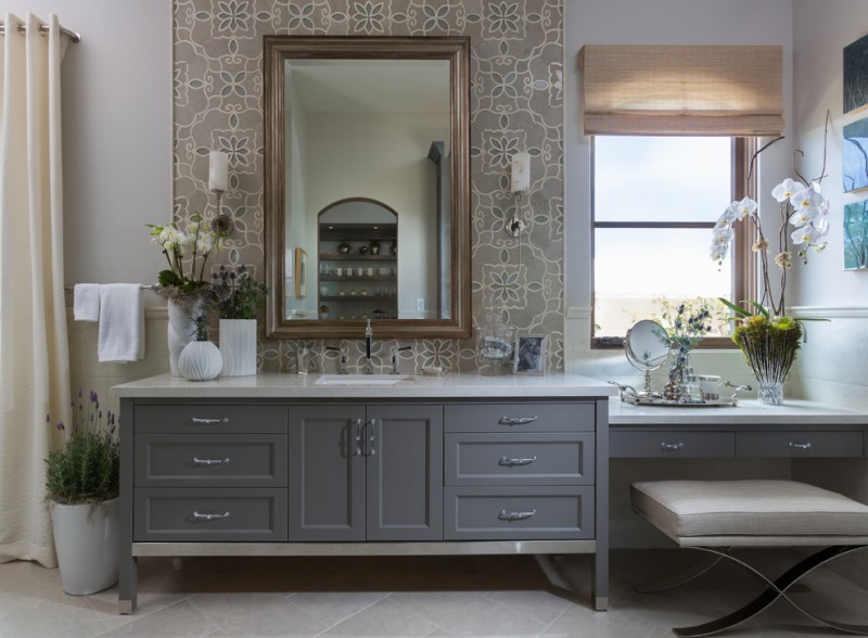 Large transitional master bathroom with an undermount sink, gray cabinets, gray tile, white tile, gray walls, mosaic tile, gray floors, shaker cabinets, an alcove shower, a two piece toilet, cerami