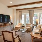 Mid Sized Traditional Family Room With Beige Walls, A Wall Mounted TV And Dark Hardwood Floors Table Lamps Cream Rug Rustic Table