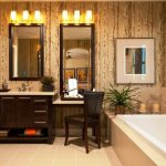 Modern Bathroom With Shaker Cabinets, Dark Wood Cabinets, A Drop In Tub, Beige Tile And Multicolored Walls White Tub Fixed Lamps