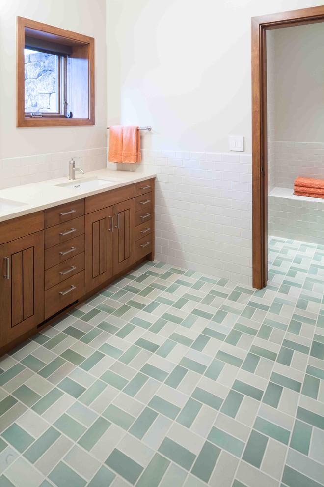 bathroom floor tile ideas ceramic art floor tile custom wide cabinetry window with light wood frame towel holder undermount sink