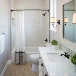 Bathroom Floor Tile Ideas Fiandre Nihon Goma Floor Tile Kingston Faucet Shower Head Curtain Back Splash Mirror Curtain With Dark Rod