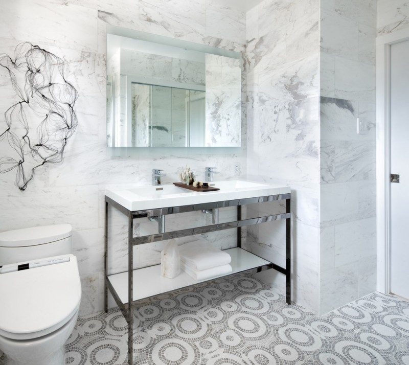 Bathroom Floor Tile Ideas Pattened Tiles Unique Wall Decor Cube Sink C Collection Vanity Mirror