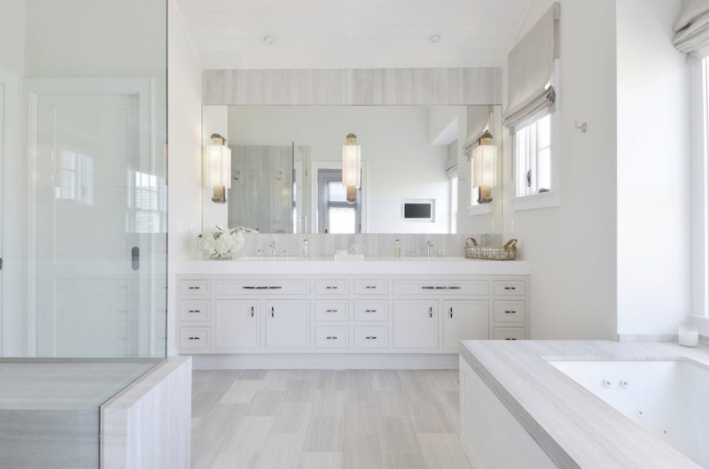 bathroom floor tile ideas porcelain floor tile windows with shades wide mirror wall sconces wide vanity with drawers and undermount sinks