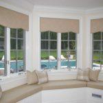Bay Window Grey Trim Tan Palate Tan Cushion Window Cushion Throw Pillows
