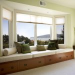 Bay Window White Trim Window Bench White Bench Green Painted Wall Green Pillow Bench Storage White Area Rug