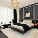 Black And White Bedroom Black Cotton Filled Blanket Safavieh Shag Beige Rug Mounted Side Table Black And Gold Table Lamps Chandelier Black And White Armchairs